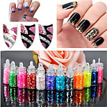 12Pcs/set Mini Bottle Glitter Sequin Nail Art Powder Dust Tip Rhinestone Manicure Tools