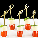 100Pcs Lot Disposable Bamboo Fork Twisted Party Buffet Fruit Desserts Food Cocktail Sandwich Fork Stick Skewer 9cm Long