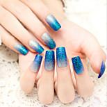 24PCS/SET  Nail Strips Flash Powder Blue Gradient Charming And Sexy