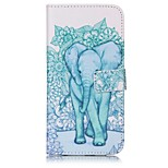 Elephant Pattern Card Holder PU Leather case For iPhone 7 7 Plus