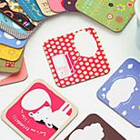 Cute Cartoon Coasters Heat Proof Cardboard Square Lovely For Girls (Random Colours)