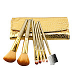 7 Makeup Brushes Set Nylon Professional / Portable Wood Face / Eye / Lip Golden