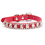 Dog Collar Adjustable/Retractable Rhinestone Multicolor PU Leather
