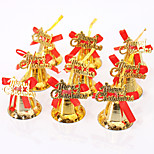 9Pcs Christmas Ornament Decorations Christmas Tree Decoration Shine Gold Hanging Bells Bowknot Diy Merry Christmas