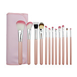 12 Makeup Brushes Set Nylon Professional / Portable Wood Face / Eye / Lip