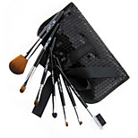 7 Makeup Brushes Set Synthetic Hair Professional / Portable Wood Face / Eye / Lip Black