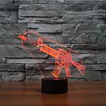arma del tacto de oscurecimiento 3d llevó la luz de la noche de la lámpara de la decoración ambiente 7colorful de iluminación novedoso luz