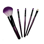 5 Makeup Brushes Set Synthetic Hair Portable Wood Face NFSS / Send Package