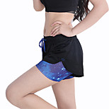 Women's Mesh Elastic Waist Quick Dry Sports Fitness Running Shorts with Safety Pants
