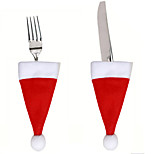 2pcs Lot Christmas Hat Cutlery Bag Xmas Santa Claus Hat Cutlery Tableware Holder Fork Spoon Knife Bag Cover