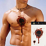 5Pcs  Fake Women Men Flower Body Arm Chest Blood Hole Gunshot Wound Terror Wound Art Temporary Tattoo Sticker Halloween