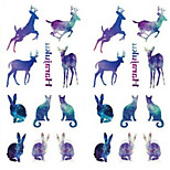 Tattoos On Christmas Day The Gradient Rabbits And Deer 1Pcs