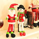 2pcs garrafa de vinho abrange conjuntos natal partido roupa de Papai Noel tampa para garrafas presente do xmas decoração ano novo vermelho