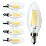4W E12 Ampoules à Filament LED C35 4 COB 380 lm Blanc Chaud Gradable AC 110-130 V 6 pièces