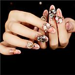 24Pcs Pearl Diamond Iong Nail Strips Exquisite Elegant 1Set
