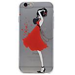 Für iPhone 7 Hülle / iPhone 6 Hülle / iPhone 5 Hülle Transparent / Geprägt / Muster Hülle Rückseitenabdeckung Hülle Sexy Lady Weich TPU