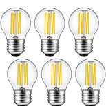 6W E26/E27 LED-gloeilampen G45 6 COB 560 lm Warm wit Decoratief V 6 stuks