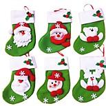 6Pcs/lot Mini Christmas Stocking/Socks Candy Bag Christmas Gift Bag Storage Bags Christmas Decoration(Style Random)