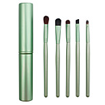 5 Makeup Brushes Set Horse / Synthetic Hair Professional / Portable Wood Eye / Lip Green
