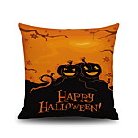 Happy Halloween Pumpkin 2 Square Linen  Decorative Throw Pillow Case Cushion Cover