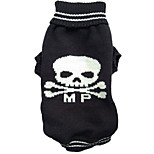 Halloween Skull MP Printing Black Dog Clothes Winter Dog Sweater for Pets
