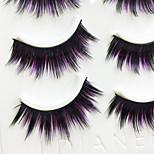 Eyelashes lash Full Strip Lashes Eyes Thick / Colorful Handmade Fiber Black Band 0.07mm 14mm