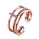 Women's Band Rings Jewelry Casual/Party/Daily Fashion Stainless Steel Cubic Zirconia White/Rose Gold 1pc Gift