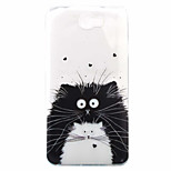 Black Cat With White Cat Pattern Painted TPU Material Phone Case for Hawei Y5II  Y6 II