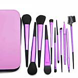 11 Makeup Brushes Set Goat Hair Professional / Portable Metal Handle Face/Eye / Lip Purple