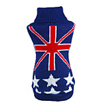 Cat / Dog Sweater Blue Dog Clothes Winter / Spring/Fall National Flag Casual/Daily