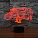 Rhino Touch Dimming 3D LED Night Light 7Colorful Decoration Atmosphere Lamp Novelty Lighting Christmas Light