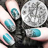 2016 Latest Version Fashion Pattern Violin Flower Nail Art Stamping Image Template Plates