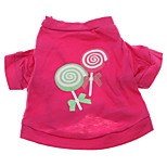 Sweet Lollipop Rose Cotton Shirt Summer Dog Clothes for Pets