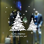 Snowflake Christmas Tree Christmas Wall Sticker Living Room Bedroom Window Glass Wall Sticker Removable Decorative Sticker