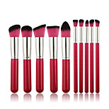 10 Makeup Brushes Set Synthetic Hair Professional / Portable Wood Face / Eye / Lip Pink Handle And Pink Brush Hair