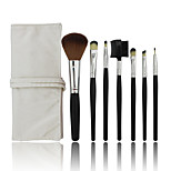 7 Makeup Brushes Set Synthetic Hair Professional / Portable Wood Face / Eye / Lip White