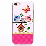 Cartoon Pink Family owl TPU Protection Back Cover Case for iPhone 7/7 Plus/6S/6Plus/SE/5S