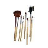 7 Makeup Brushes Set Synthetic Hair Portable Wood Face G.R.C