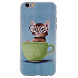 Glasses Cat Pattern TPU High Purity  Soft Phone Case for iPhone 7 7Plus 6S 6Plus SE 5S 5