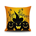 Happy Halloween Pumpkin 3 Square Linen  Decorative Throw Pillow Case Cushion Cover