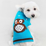 Cat Dog Sweater Dog Clothes Winter Spring/Fall Animal Cute Casual/Daily Orange Red Green Blue