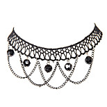 Vintage Gothic Jewelry Black Lace 5 Black Beads and Interlace Chains Multilayer Pendants Tattoo Choker Necklace