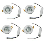 YouOKLight 4PCS 3W 3xLEDs Epistar  450lm White/Warm White Downlight Ceiling Lamp - White (AC 100-240V)
