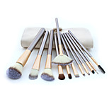 12 Makeup Brushes Set Horse Hair Professional / Portable Wood Handle Face/Eye/Lip