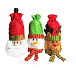 Christmas Red Ornament Old Wine Bags Bottle Santa Claus Elk Snowman Design For Home Party Table Decoration