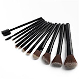 12 Makeup Brushes Set Others Professional / Portable Wood Face / Eye / Lip Black And Gloden