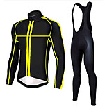 Sports Cycling Jersey with Bib Tights Men's Long Sleeve Bike Breathable / Quick Dry / Anatomic Design / Front Zipper / 3D PadClothing