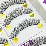 Eyelashes lash Full Strip Lashes Eyes Crisscross Lifted lashes Handmade Fiber Black Band 0.10mm 12mm