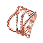 Women's Band Rings Jewelry Casual/Party/Daily/Wedding Fashion Copper Cubic Zirconia White/Rose Gold 1pc Gift