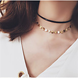 Gold Circle Pendant Tassel PU Black Choker Layered Necklace for Women